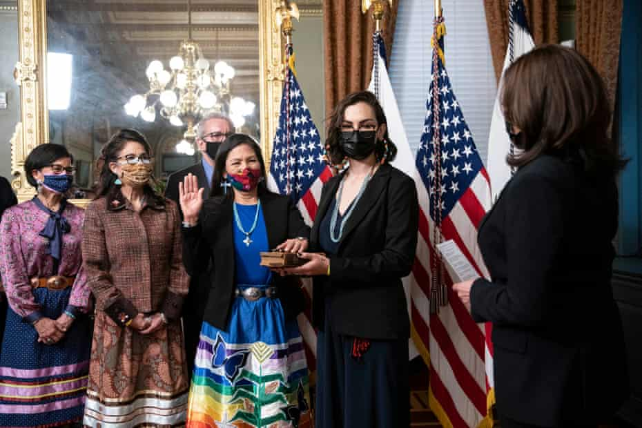 Making history in style: Deb Haaland wears Indigenous dress at swearing-in