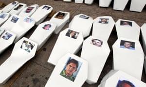 Paper coffins, symbolising murdered journalists, in Tegucigalpa.