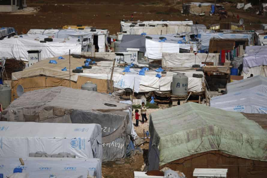 A Syrian refugee camp in the town of Hosh Hareem, in the Bekaa Valley, east Lebanon