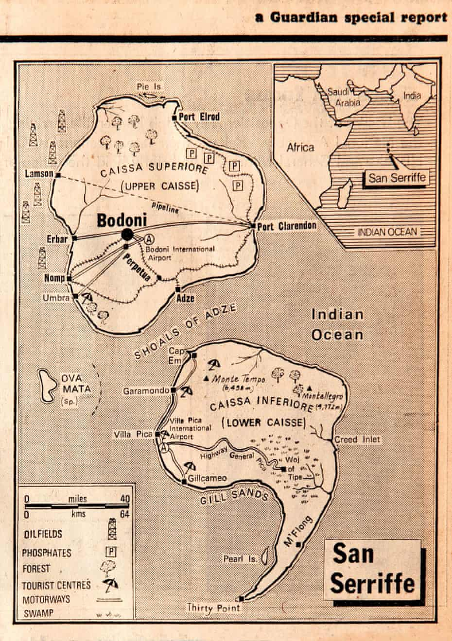 Map of San Serriffe, from the Guardian special report