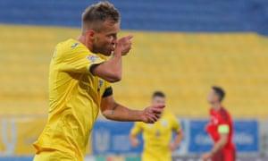 Andriy Yarmolenko of Ukraine celebrates his goal.