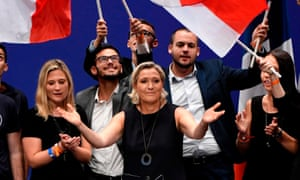 Marine Le Pen gestures to supporters after giving a speech in Fréjus, southern France