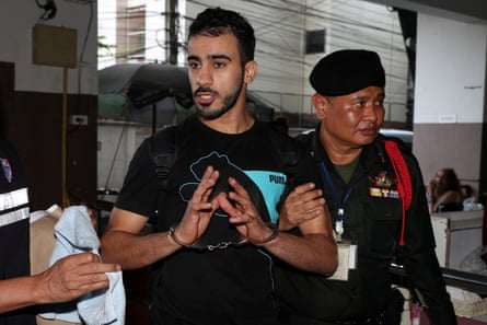 Hakeem al-Araibi is led into a court in Bangkok on 11 December.