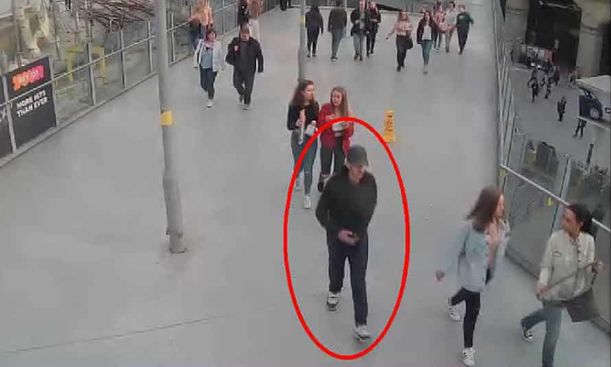 Suicide bomber Salman Abedi walking from Victoria Station towards the Manchester Arena on 22 May 2017.