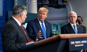 Donald Trump turns to the homeland security official William Bryan during the briefing at which the president extolled the virtues of ingested disinfectant.