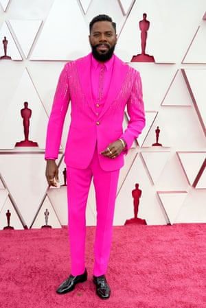 Colman Domingo of Ma Rainey's Black Bottom was one of the first on the red carpet and one of the best, in delightfully pink, jolly Versace.