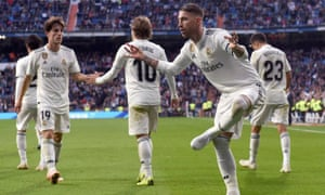 Sergio Ramos celebrates after his late penalty secured a much-needed victory for Real Madrid.