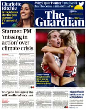 Guardian front page, Wednesday 4 August 2021