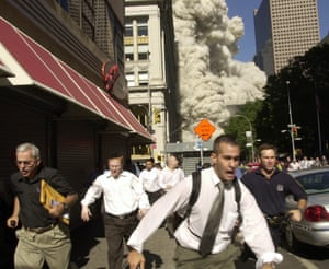 Suzanne Plunkett's photograph of people escaping as the South Tower collapse