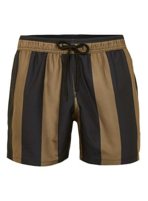 Brown and black stripe swimshorts