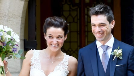 British cyclists Lizzie Armitstead and Philip Deignan at their wedding in Otley, Yorkshire, in September 2016