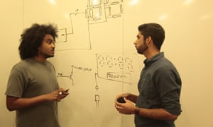 Muslim MIT students Hisham Bedri, 26, a researcher of imaging and user interaction, and Usman Ayyaz, 21, a senior in computer science, discuss the design for a project to raise awareness of Islamophobia.