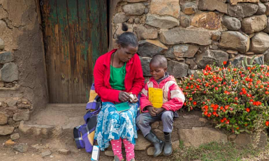 Maboe Ntsime and her son Motsamai had to make an arduous journey for HIV treatment but now access is much easier thanks to a programme using mobile technology.