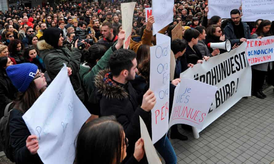 Demonstrator protest against the alleged rape of a teenager in Pristina