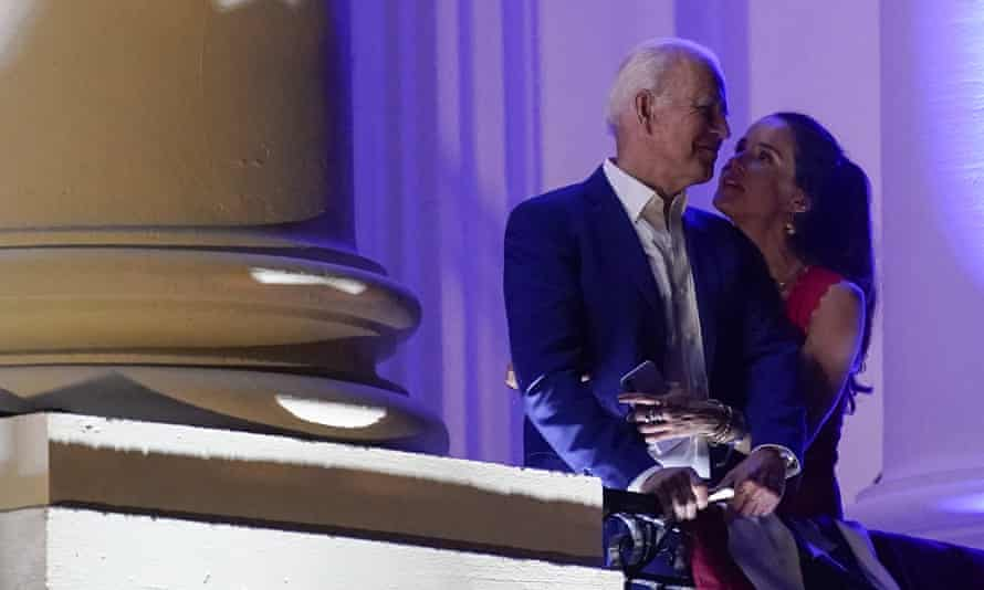 Biden with his daughter Ashley as they view fireworks during an Independence Day celebration on the South Lawn of the White House.