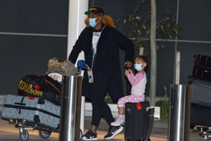 US tennis player Serena Williams and her daughter arrive in Adelaide on 14 January before heading straight to quarantine for two weeks isolation ahead of her Australian Open matches.