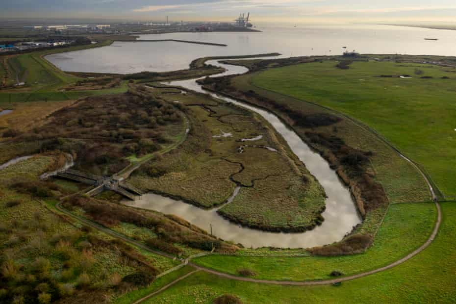 An aerial shot of the nature reserve and a section of wetland managed by the RSPB.