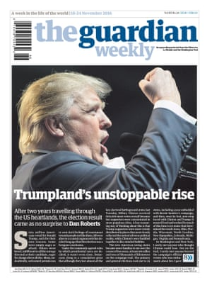First Guardian Weekly edition on sale after the US election result that stunned the world