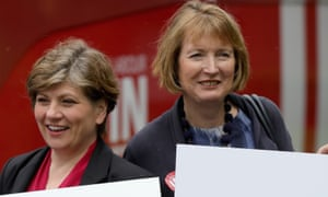 Harriet Harman (right) and Emily Thornberry pose for the media outside Palfrey Sure Start Centre as they join the Labour In battlebus to campaign in the West Midlands.