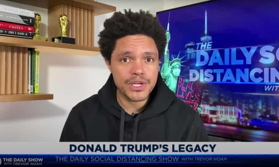"""Trevor Noah on Trump's consistency as President: """"The victimhood and racial resentment that came down that escalator in 2015 — those are the same that ended up at the Capitol on January 6th."""""""