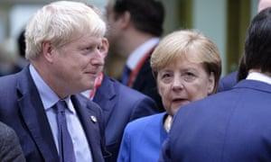 Boris Johnson with Angela Merkel at the EU leaders' summit