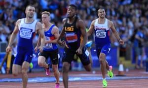 Adam Gemili grimaces during the men's 200m final, in Birmingham.