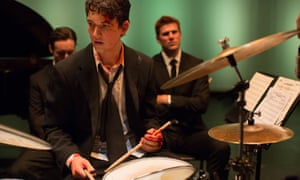 Miles Teller playing a jazz drummer in Whiplash.