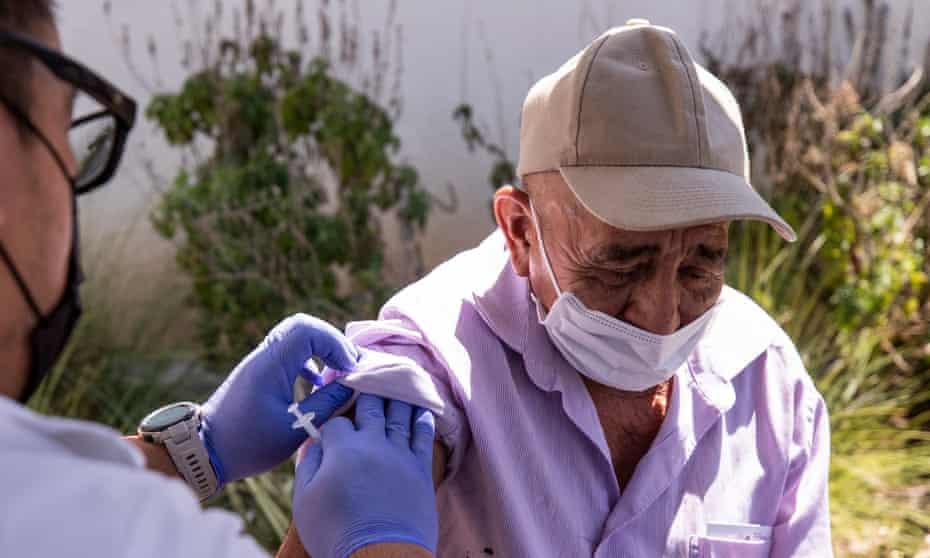 A man receives a vaccination in East Hollywood, Los Angeles last week.
