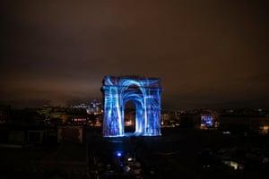The Arc de Triomphe in Paris.
