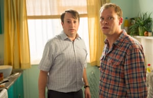 From left:  David Mitchell as Mark and Robert Webb as Jeremy in Peep Show Series 9: Episode 3