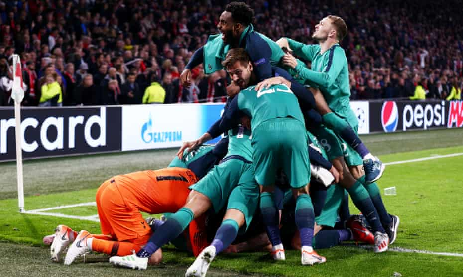 Somewhere under these ecstatic players is Lucas Moura, whose hat-trick over Ajax took Spurs to the Champions League final.
