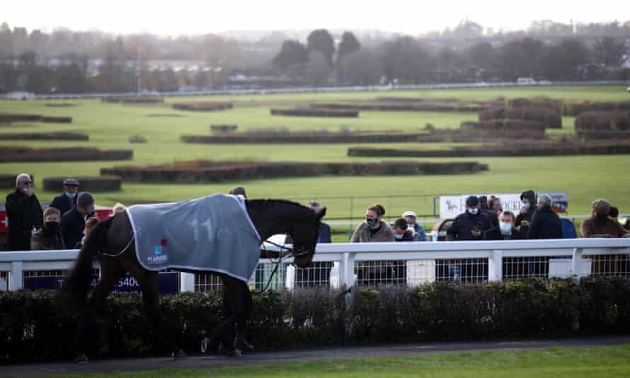 The parade ring at Hereford racecourse, from which owners will be banned during lockdown.