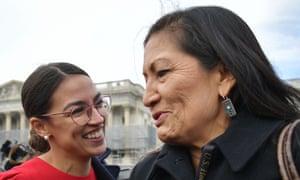 Haaland, although a progressive Democrat like Alexandria Ocasio-Cortez, left, has been successful in attracting bipartisan support for her initiatives in Congress.