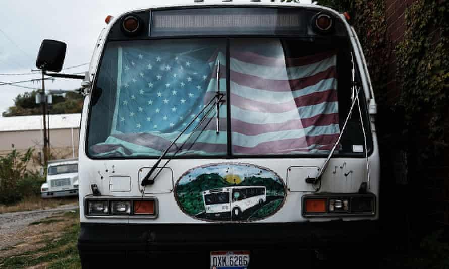 A broken bus in East Liverpool, Ohio.