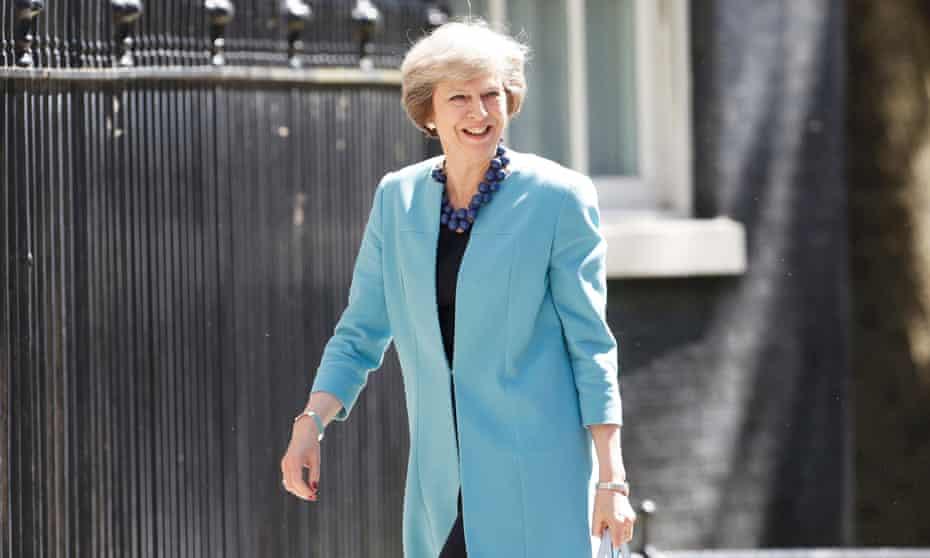 Theresa May arrives at 10 Downing Street.