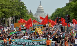 During the People's Climate March in April 2017, demonstrators filled Pennsylvania Avenue in Washington DC.