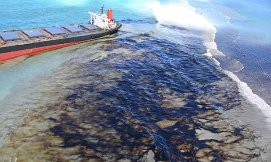 Oil drifts over coral reefs from the MV Wakashio, a Japanese-owned carrier ship that ran aground off the south-east coast of Mauritius.