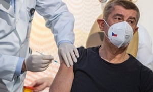 Czech Prime Minister Andrej Babis receives a shot of the Pfizer-BioNTech COVID-19 vaccine at the Military University Hospital in Prague