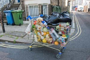 A packed shopping trolley of food spotted near the Old Kent Road. The shopper couldn't actually control it