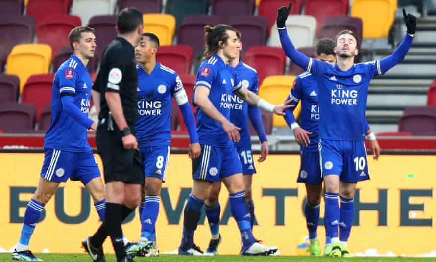 Leicester's James Maddison celebrates after scoring his side's third goal in their 3-1 defeat of Brentford in the FA Cup fourth round