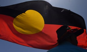 Aboriginal flag blows in the wind