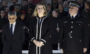 Mackey, right, with Sadiq Khan and Amber Rudd at a vigil in Trafalgar Square after the Westminster attack.