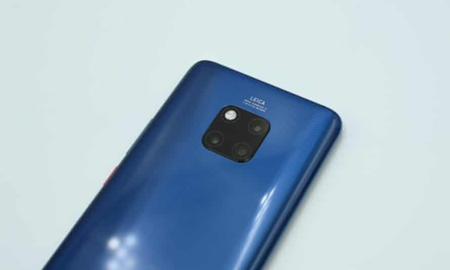 The three camera and LED flash array on the back of the Mate 20 Pro.