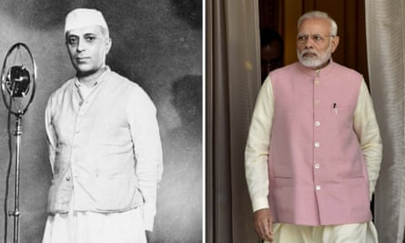 Composite comparing the jacket of the first Prime Minister of India, Jawaharlal Nehru (L) and of 2018 Indian PM Narenda Modi (R)