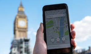 Uber app in Central London