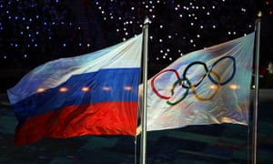 Russian and Olympic flags