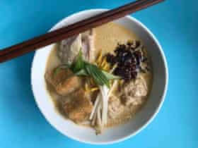 Mandy Lee's laksa: strain the paste through a fine sieve before diluting it with coconut water; not only is this the easiest way to remove the shells and stalks.