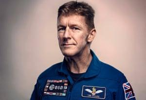 Tim Peake in a blue space suit