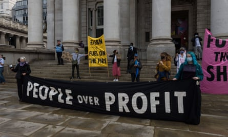 An Extinction Rebellion protest outside the Bank of England in London