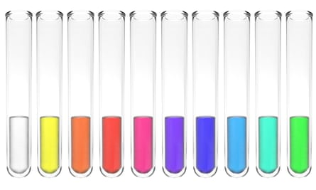 Collection of test tubes with liquids in all colours